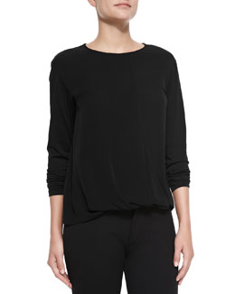 Theory Drate Long-Sleeve Stretch Top