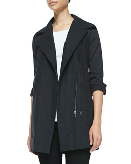 Joie Ermie Knit-Trim Felt Jacket