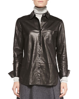 Leather Button-Front Shirt