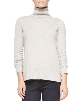 Vince Cashmere-Overlay Turtleneck Sweater, Heather Snow