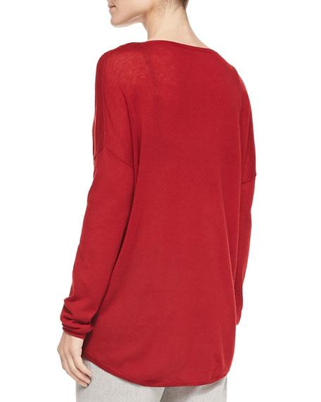 Crewneck Long-Sleeve Sweater, Claret