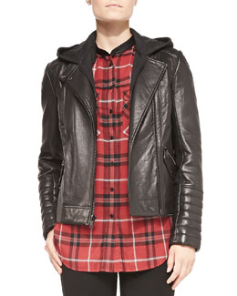 Vince Removable-Hood Lambskin Moto Jacket