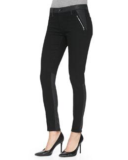 AG Adriano Goldschmied Willow Smolder Leather-Trim Denim Jeans