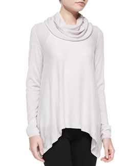 Alice + Olivia Draped Cowl-Neck Knit Top
