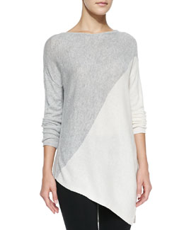Alice + Olivia Asymmetric Colorblocked Pullover Sweater