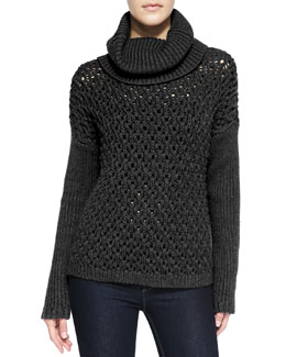 Alice + Olivia Chunky Drop-Shoulder Turtleneck Sweater