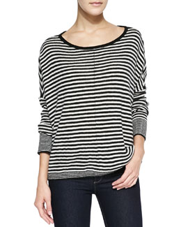 Alice + Olivia Boxy Ribbed & Striped Sweater