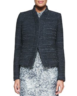 O'2nd Stand-Collar Tweed Jacket