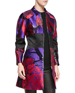 Risto Slash-Print Banded Zip-Front Coat