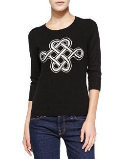Diane von Furstenberg Intarsia Celtic Knot Cashmere Sweater