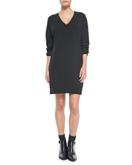 Vince Dropped-Sleeve V-Neck Tunic Sweater, Dark Gray