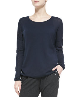 Vince Crewneck Long-Sleeve Sweater, Coastal