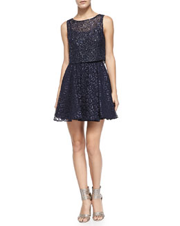 Alice + Olivia Hilta Beaded Blouson Mesh Dress