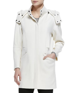 Vince Fur-Lined Hooded Coat, Winter White