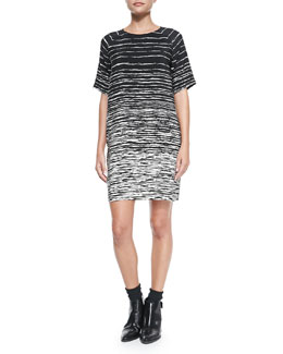 Vince Printed Raglan-Sleeve Shift Dress