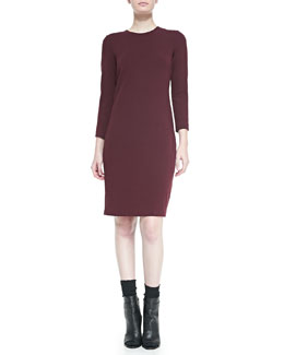 Vince 3/4-Sleeve Boucle Sheath Dress, Shiraz