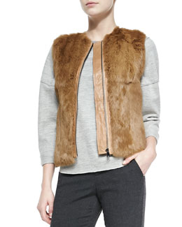 Vince Quilted Leather/Fur Zip Vest