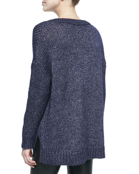 Metallic V-Neck Sweater, Navy