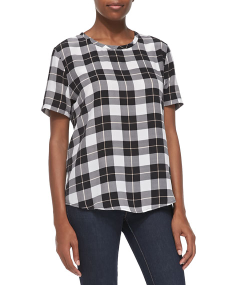 Riley Short-Sleeve Plaid Tee