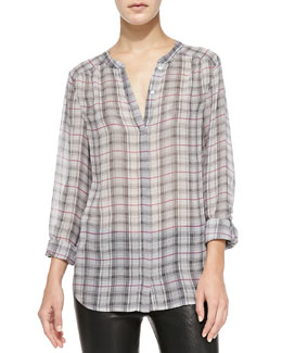 Joie Marice Long-Sleeve Plaid Top