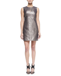Diane von Furstenberg Yvette Metallic/Solid Fitted Dress