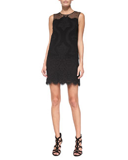 Diane von Furstenberg Sleeveless Lace Scalloped Shift Dress