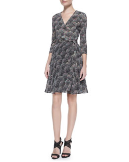 Diane von Furstenberg 3/4-Sleeve Printed Silk Wrap Dress