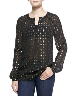 Diane von Furstenberg Sheer Printed Metallic Blouse