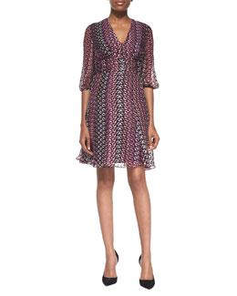 Diane von Furstenberg Ruch-Waist Printed A-Line Dress