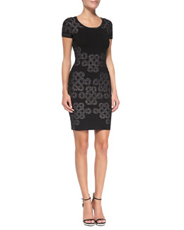 Diane von Furstenberg Knot-Print Knit Short-Sleeve Sheath Dress