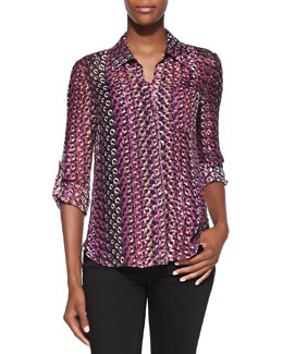 Diane von Furstenberg Lorelei Two Printed Button-Down Blouse