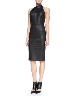 Tamara Mellon Fitted Leather Halter Dress with Open Back