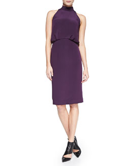 Tamara Mellon Silk Halter Dress, Aubergine
