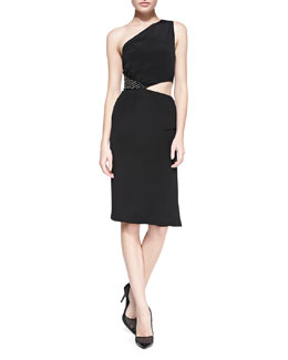 Tamara Mellon One-Shoulder Dress with Grommet Side, Black