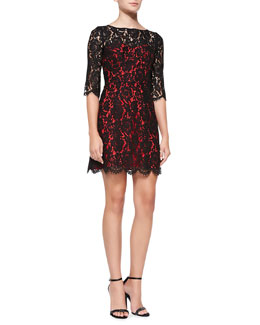 Milly Ally Floral Lace Cocktail Dress, Black/Red