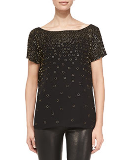 Milly Short-Sleeve Metallic Ring Tee