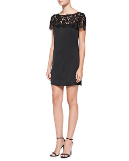 Milly Chelsea Lace-Yoke Shift Dress