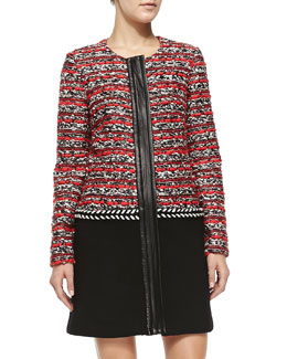 Milly Couture Tweed Multimedia Coat
