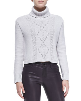 J Brand Ready to Wear Maddie Turtleneck Sweater W/ Cable-Knit Front