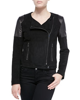 J Brand Ready to Wear Ranya Suede & Leather Moto Jacket