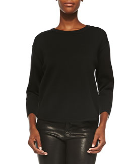 J Brand Ready to Wear Cory Dropped-Sleeve Crewneck Sweater