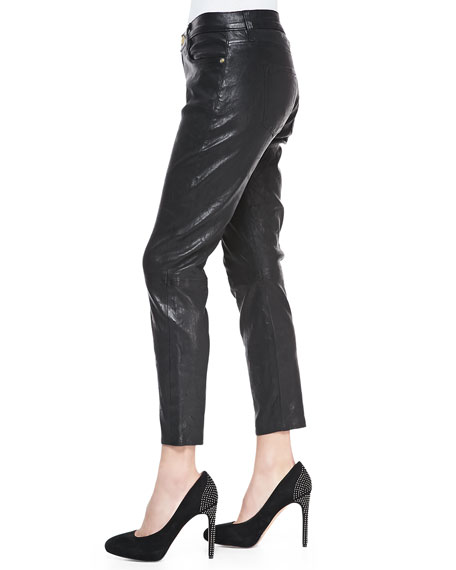 Le Garcon Leather Cropped Pants, Black Washed