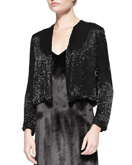 Alice + Olivia Kevin Sequined Cropped Evening Jacket