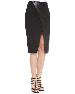 Alice + Olivia Leather/Ponte Wrap Pencil Skirt