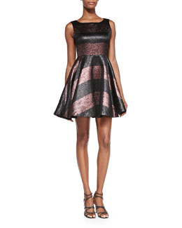 Alice + Olivia Foss Beaded Metallic Party Dress