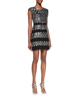 Alice + Olivia Gina Embellished Metallic Fitted Dress