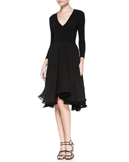 Alice + Olivia Tulsi Knit/Chiffon Combo Flounce Dress