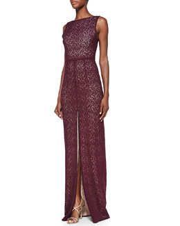 Alice + Olivia Gemma Lace Front-Slit Gown