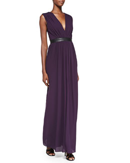 Alice + Olivia Denise Leather-Waist Jersey Maxi Dress