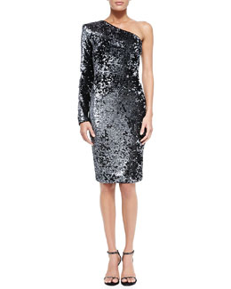 Rachel Zoe Bray One-Sleeve Sequined Cocktail Dress
